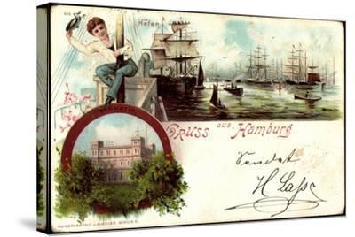 Litho Hamburg Harburg, Segelschiffe Im Hafen, Seewarte--Stretched Canvas Print