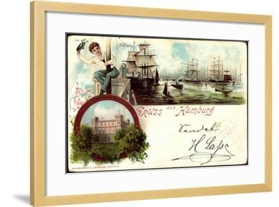 Litho Hamburg Harburg, Segelschiffe Im Hafen, Seewarte--Framed Giclee Print