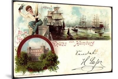 Litho Hamburg Harburg, Segelschiffe Im Hafen, Seewarte--Mounted Giclee Print