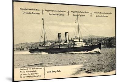 Ganzsachen Ostende, Vue Du Paquebot Jan Breydel--Mounted Giclee Print