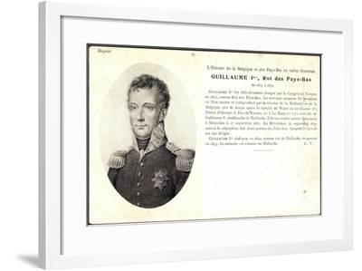 Künstler Guillaume I, Roi, Pay Bas,Adel Niederlande--Framed Giclee Print