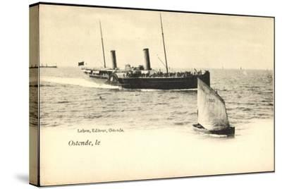 Ostende, Fährschiff Läuft An, Segelboot 077--Stretched Canvas Print