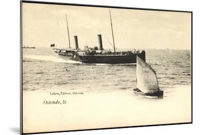 Ostende, Fährschiff Läuft An, Segelboot 077--Mounted Giclee Print