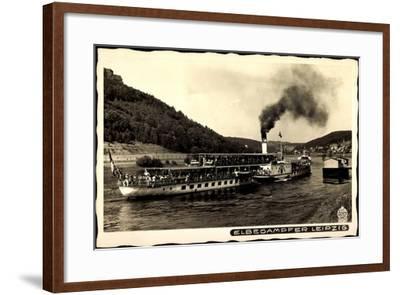 Blick Auf Den Dampfer Leipzig Auf Der Elbe--Framed Giclee Print