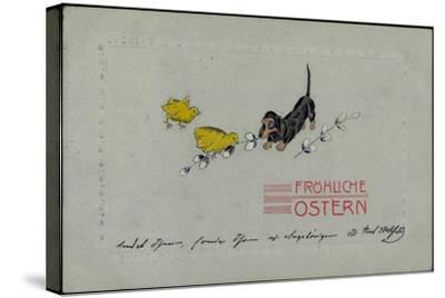 Präge Glückwunsch Ostern, Dackel Mit Küken, Zweige--Stretched Canvas Print