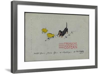Präge Glückwunsch Ostern, Dackel Mit Küken, Zweige--Framed Giclee Print
