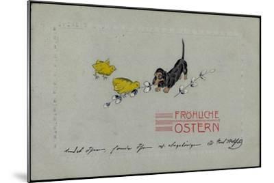 Präge Glückwunsch Ostern, Dackel Mit Küken, Zweige--Mounted Giclee Print