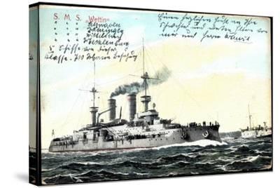 Deutsches Kriegsschiff S.M.S. Wettin in Fahrt--Stretched Canvas Print
