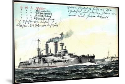 Deutsches Kriegsschiff S.M.S. Wettin in Fahrt--Mounted Giclee Print