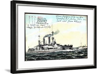 Deutsches Kriegsschiff S.M.S. Wettin in Fahrt--Framed Giclee Print