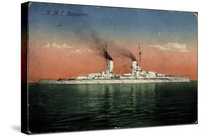 Deutsches Kriegsschiff, S.M.S. Kronprinz Auf See--Stretched Canvas Print