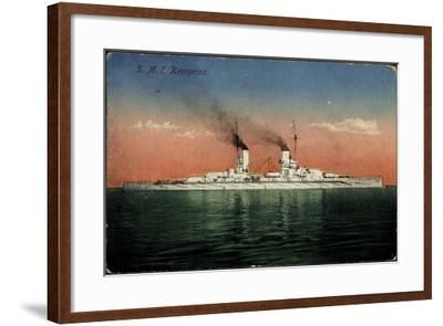 Deutsches Kriegsschiff, S.M.S. Kronprinz Auf See--Framed Giclee Print