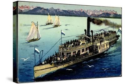 Starnberger See, Dampfer Starnberg, Segelboote, Berge--Stretched Canvas Print