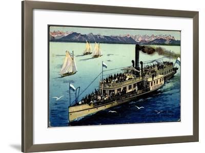 Starnberger See, Dampfer Starnberg, Segelboote, Berge--Framed Giclee Print