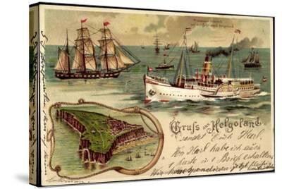 Litho Helgoland, Dampfer Prinz, Heinrich, Segelschiff--Stretched Canvas Print