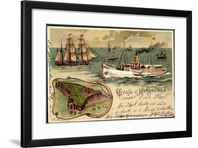 Litho Helgoland, Dampfer Prinz, Heinrich, Segelschiff--Framed Giclee Print