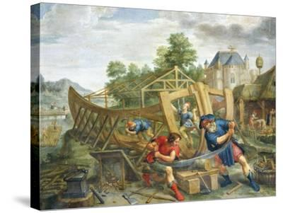 Building Ark, Flemish Painting, Painting on Copper--Stretched Canvas Print