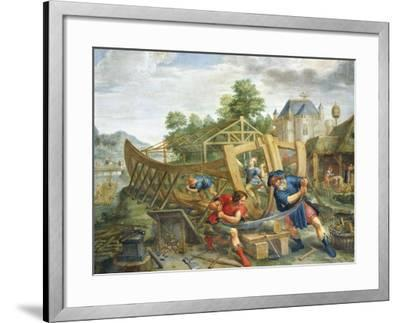 Building Ark, Flemish Painting, Painting on Copper--Framed Giclee Print