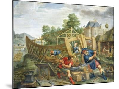 Building Ark, Flemish Painting, Painting on Copper--Mounted Giclee Print