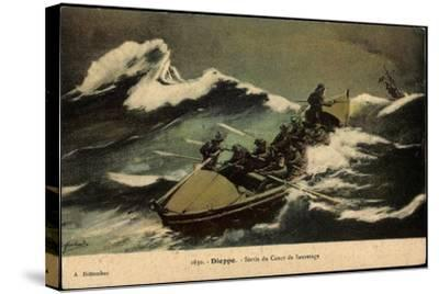 Dieppe, Sortie Du Canot De Sauvetage, Rettungsboot--Stretched Canvas Print