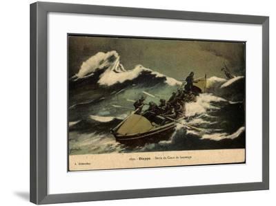 Dieppe, Sortie Du Canot De Sauvetage, Rettungsboot--Framed Giclee Print