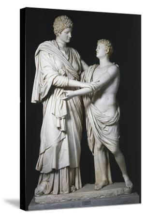 Sculptural Group of Electra and Orestes, Roman Copy of the Hellenistic Original--Stretched Canvas Print