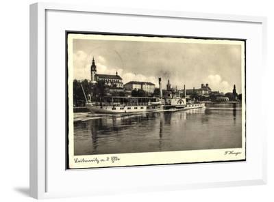 Leitmeritz Elbe Region Aussig, Dampfer Lössnitz, Ort--Framed Giclee Print