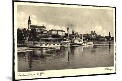 Leitmeritz Elbe Region Aussig, Dampfer Lössnitz, Ort--Mounted Giclee Print