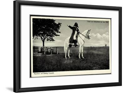 Napoleon Bonaparte, Edelsitz Cospeda, Weißes Pferd, Jena 1806, Schlachtfeld--Framed Giclee Print