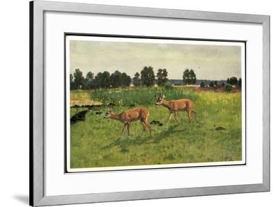 Künstler Christian Haug, Junge Rehe Auf Der Grünen Wiese--Framed Giclee Print