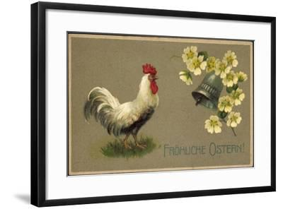 Präge Glückwunsch Ostern, Hahn, Glocke, Blüten--Framed Giclee Print
