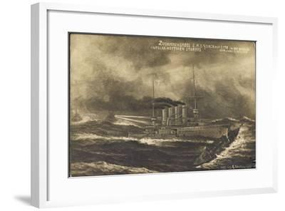Künstler S.M.S. Yorck, S 178, Zusammenstoß, Sturm--Framed Giclee Print