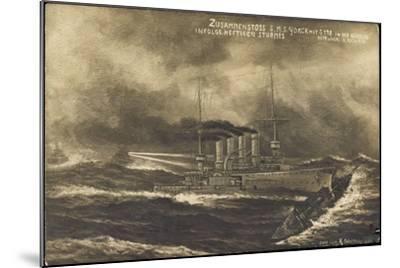 Künstler S.M.S. Yorck, S 178, Zusammenstoß, Sturm--Mounted Giclee Print