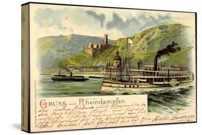 Litho Rheindampfer Overstolz Mit Berglandschaft--Stretched Canvas Print