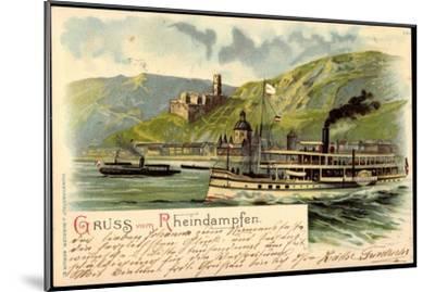 Litho Rheindampfer Overstolz Mit Berglandschaft--Mounted Giclee Print