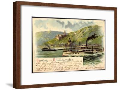 Litho Rheindampfer Overstolz Mit Berglandschaft--Framed Giclee Print