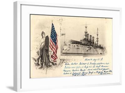 Passepartout Kriegsschiffe USA, U.S. Cruiser New York--Framed Giclee Print