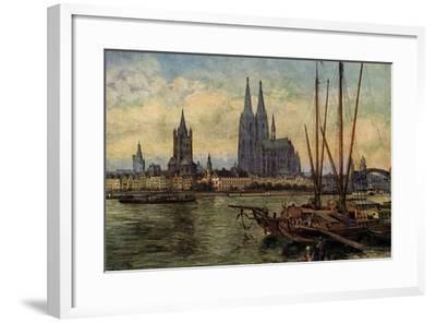 Künstler Rüdell, K., Köln Rhein, Blick Zum Dom,Boote--Framed Giclee Print