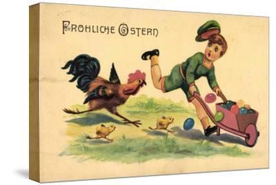 Glückwunsch Ostern, Kind, Ostereier, Küken, Hahn--Stretched Canvas Print