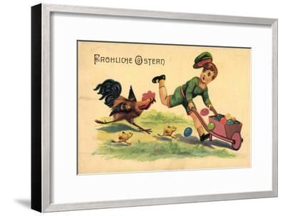 Glückwunsch Ostern, Kind, Ostereier, Küken, Hahn--Framed Giclee Print