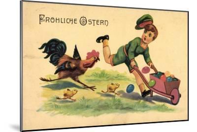 Glückwunsch Ostern, Kind, Ostereier, Küken, Hahn--Mounted Giclee Print