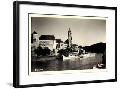 Dürnstein Niederösterreich, Blick Ü. Wasser, Dampfer--Framed Giclee Print