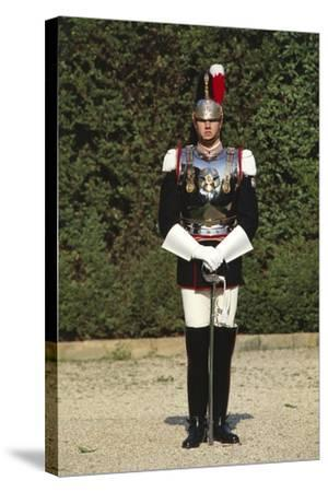 Italy, Corazzieri Soldier in Uniform at Cuirassiers Gala--Stretched Canvas Print