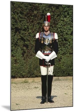 Italy, Corazzieri Soldier in Uniform at Cuirassiers Gala--Mounted Giclee Print