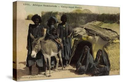 Afrique Occidentale, Campement Maure, Mauren, Volkstypen, Frauen, Esel--Stretched Canvas Print