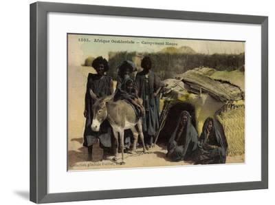 Afrique Occidentale, Campement Maure, Mauren, Volkstypen, Frauen, Esel--Framed Giclee Print