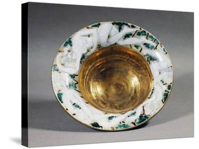 Art Deco Style Majolica Cup with Golden Interior and Female Figures Decoration, France--Stretched Canvas Print