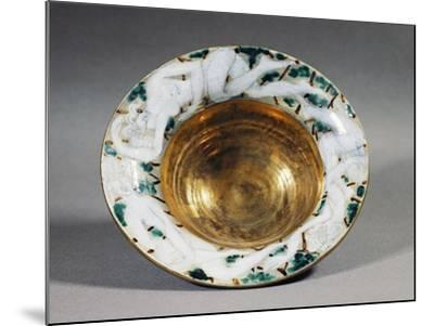Art Deco Style Majolica Cup with Golden Interior and Female Figures Decoration, France--Mounted Giclee Print