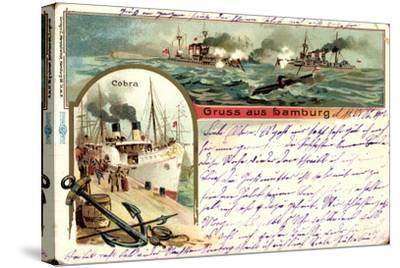 Litho Hamburg, Dampfer Cobra, U Boot, Kriegschiffe--Stretched Canvas Print