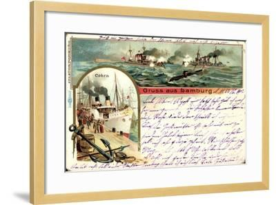 Litho Hamburg, Dampfer Cobra, U Boot, Kriegschiffe--Framed Giclee Print